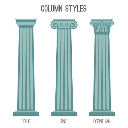 Ancient tall column styles isolated cartoon illustrations set
