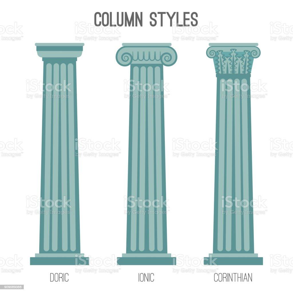 Ancient tall column styles isolated cartoon illustrations set vector art illustration