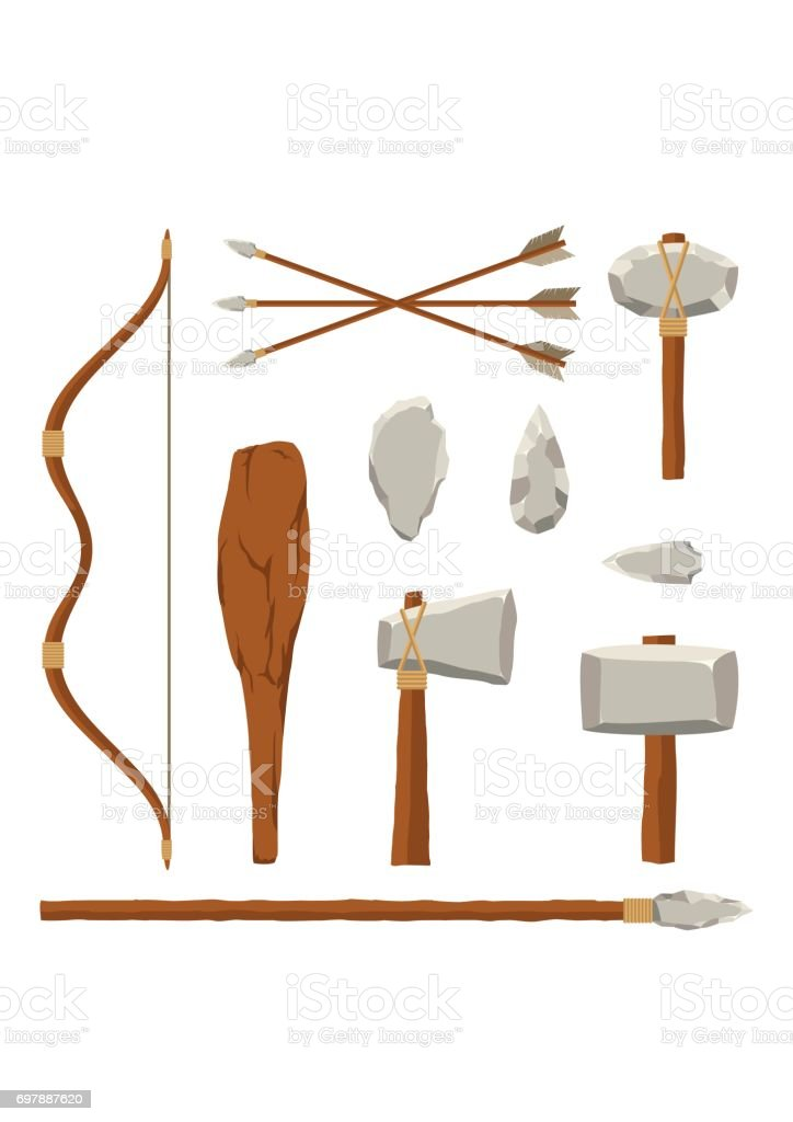 Ancient tools set isolated on white background. Hunting and military weapon prehistoric man. Primitive culture tool in flat style vector art illustration