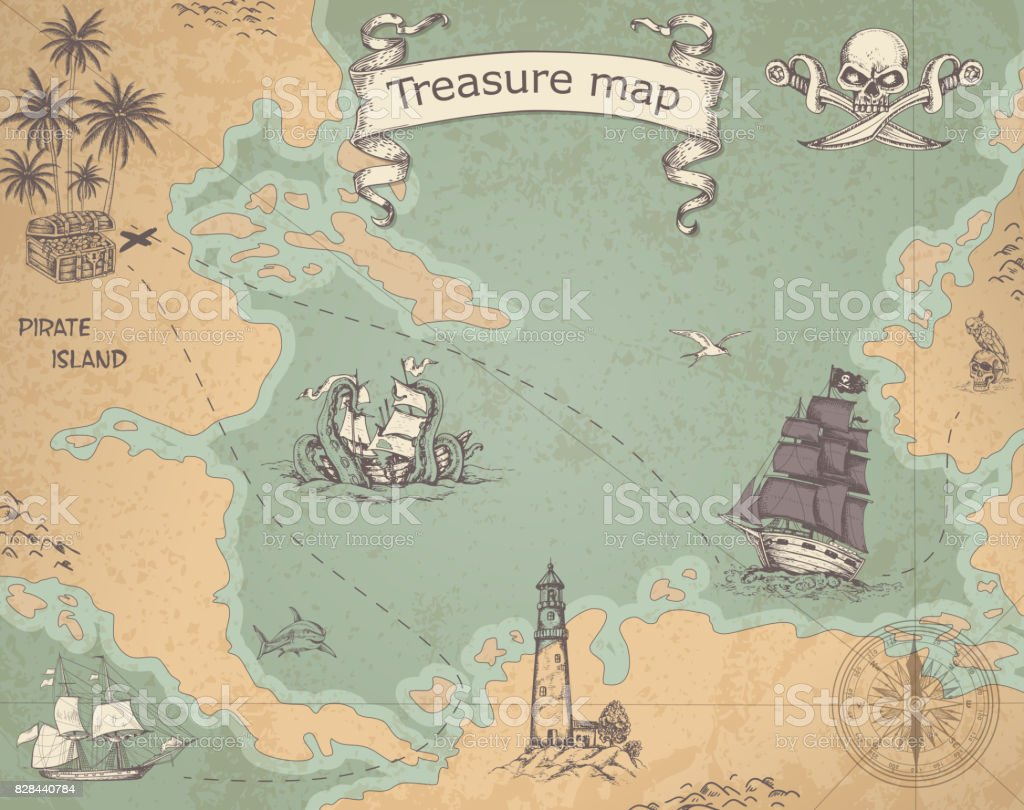 Ancient treasure map vector art illustration