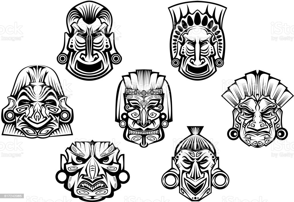 Stock Illustration Volleyball Tribal Abstract Vector: Ancient Tribal Religious Masks Stock Vector Art & More
