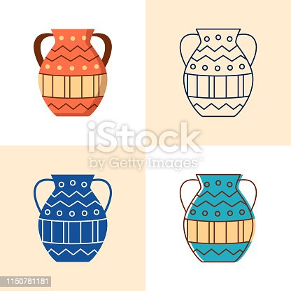 Ancient vase icon set in flat and line style. Antique pot or jar symbol. Vector illustration.