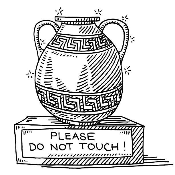 illustrations, cliparts, dessins animés et icônes de ancienne vase museum ne touchez pas de dessin - museum