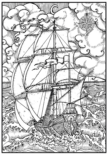 Ancient vessel under full sail against stormy sea landscape in frame