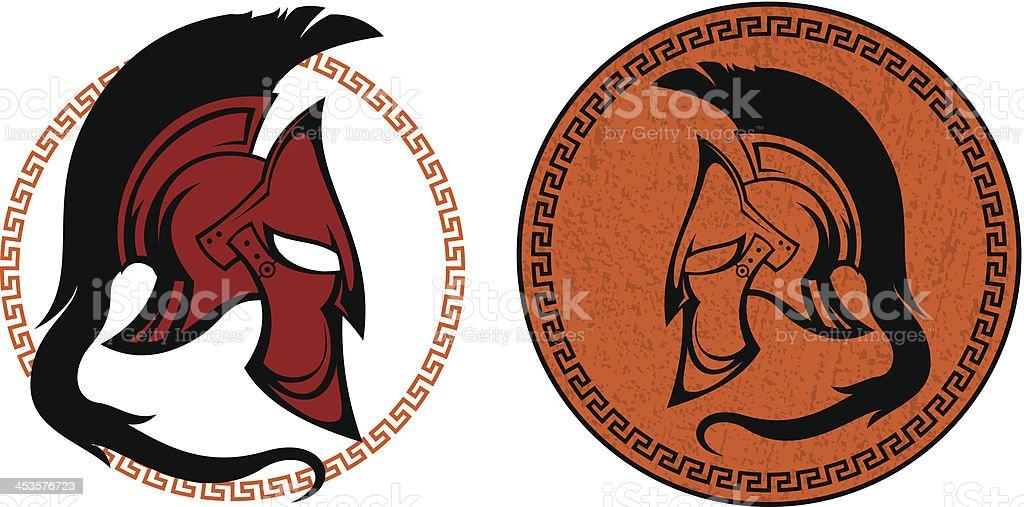 ancient warrior helmet vector art illustration