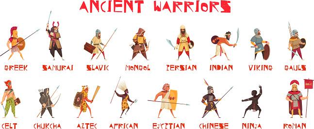 ancient warriors horizontal set