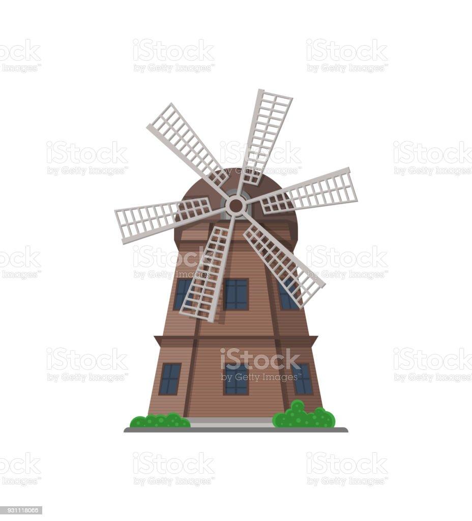 İzole simgesi bina eski ahşap fırıldak - Royalty-free Ahşap Vector Art