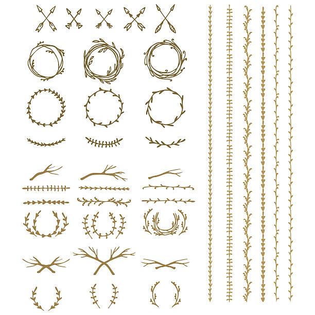 starożytne wieniec, tekst przegrody i ramki z laurel liście, - gałązka stock illustrations