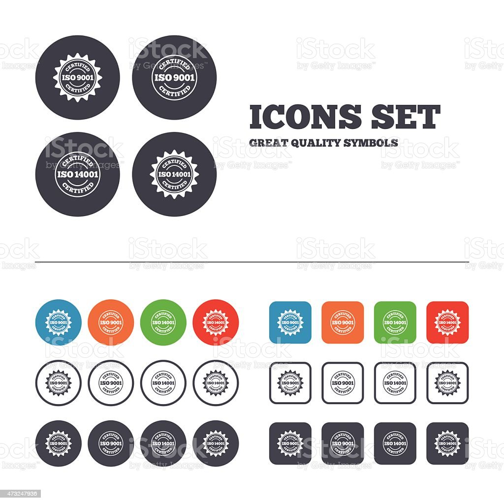 ISO 9001 and 14001 certified icons vector art illustration