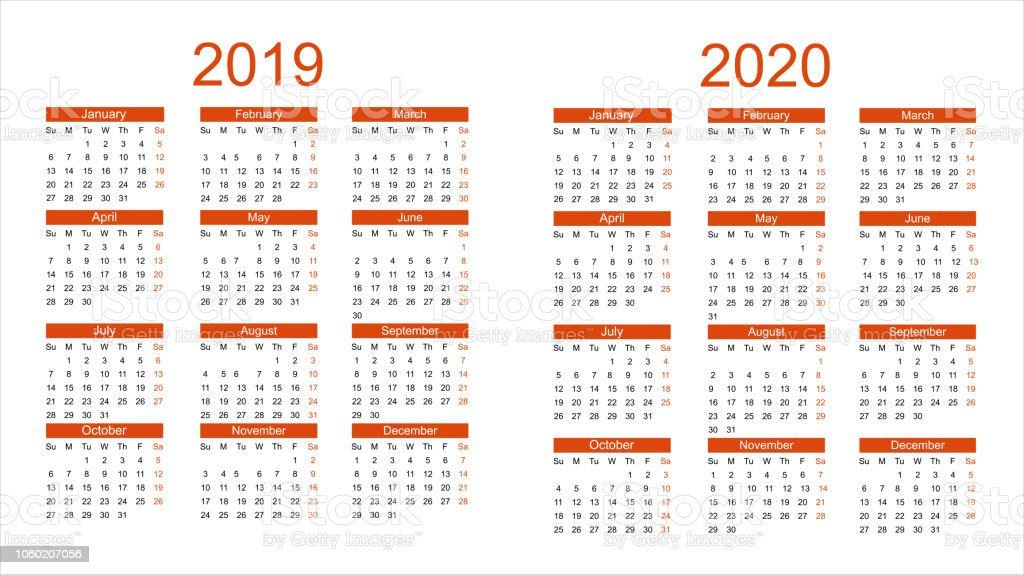 2019 and 2020 year calendar. Vector royalty-free 2019 and 2020 year calendar vector stock illustration - download image now