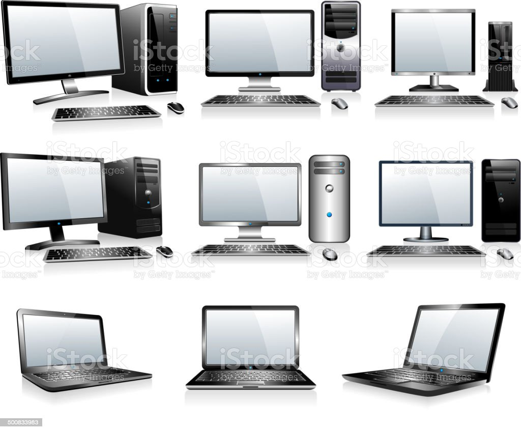 3D and 2D Computers with Monitor Keyboard and Mouse vector art illustration