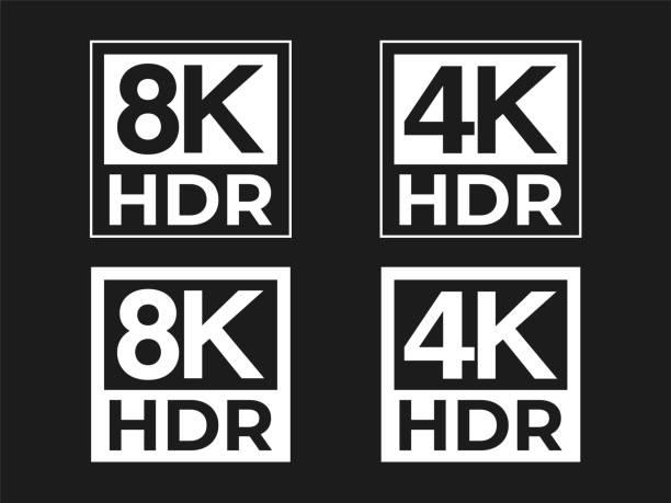 stockillustraties, clipart, cartoons en iconen met 8k en 4k hdr teken instellen - hdri landscape