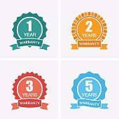 1, 2, 3 and 5 years Warranty Icons isolated on Certified Medal.