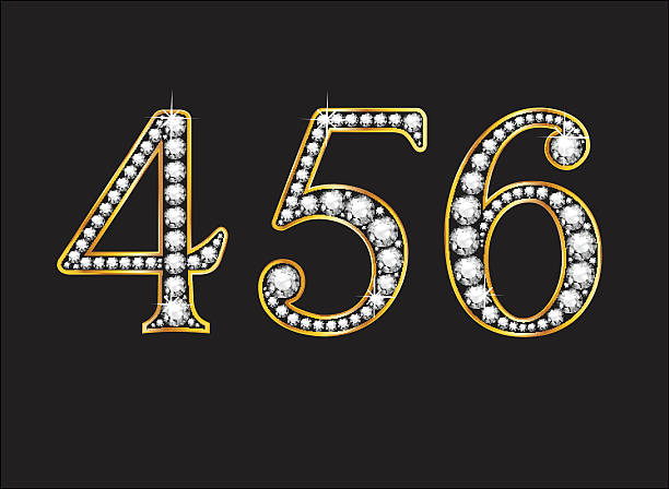 4, 5 and 6 Diamond Jeweled Font with Gold Channels vector art illustration