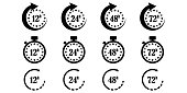 12, 24, 48 and 72 hours clock arrow, delivery service time, work time clock, thin line web symbols