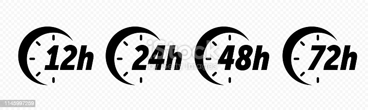 12, 24, 48 and 72 hours clock arrow vector icons. Deodorant antiperspirant time effect, delivery service, online deal remaining time web site symbols