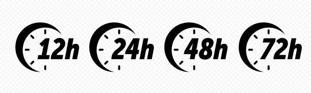 illustrazioni stock, clip art, cartoni animati e icone di tendenza di 12, 24, 48 and 72 hours clock arrow vector icons. delivery service, online deal remaining time web site symbols - data