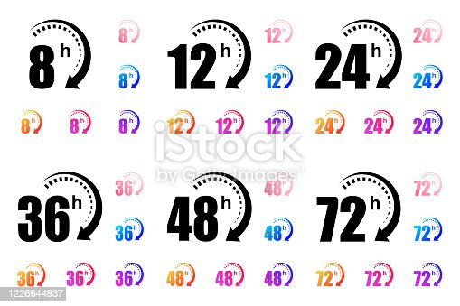 8, 12, 24, 48 and 72 hours clock arrow vector icons. Delivery service, online deal remaining time website symbols. Vector illustration