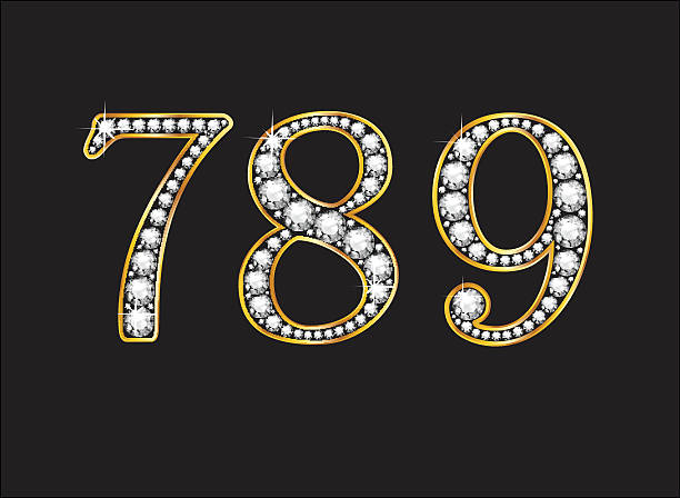 7, 8 and 9 Diamond Jeweled Font with Gold Channels vector art illustration