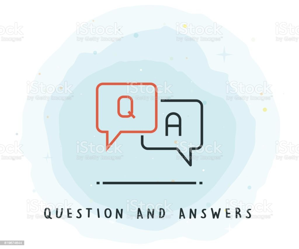 Q and A Icon with Watercolor Patch vector art illustration