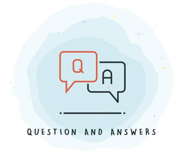 ilustraciones, imágenes clip art, dibujos animados e iconos de stock de icono de q y a con mancha de acuarela - faq