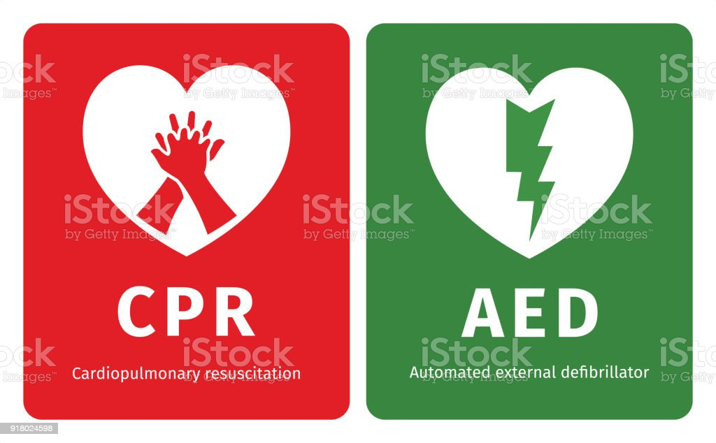 Cpr And Aed Symbols Stock Vector Art More Images Of A Helping Hand