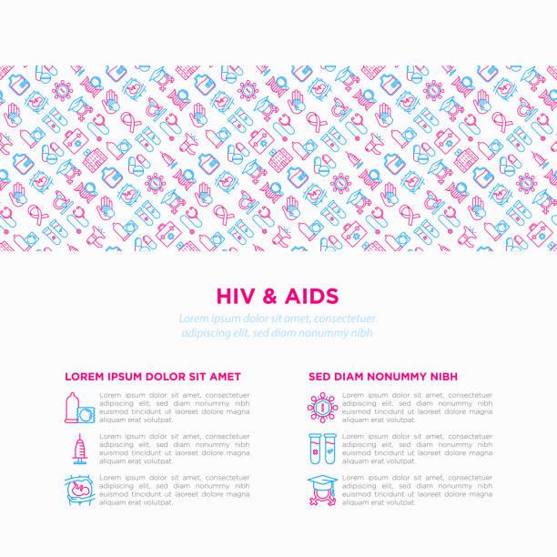 ilustrações, clipart, desenhos animados e ícones de conceito de hiv e aids com ícones de linha fina: sexo seguro, transfusão de sangue, seringa, fita de aids, exame de sangue, microscópio, engenharia genética. ilustração em vetor moderno, modelo de mídia de impressão. - hiv