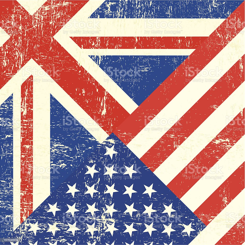 UK and american grunge flag vector art illustration