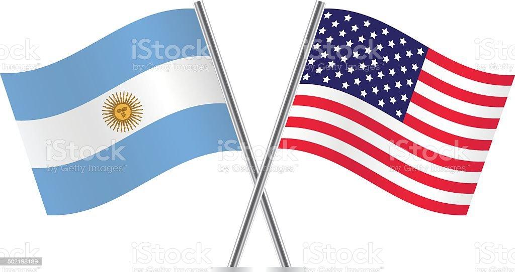 USA und Argentinien Fahnen. – Vektorgrafik