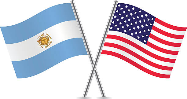 usa and argentina flags. - argentina flag stock illustrations, clip art, cartoons, & icons