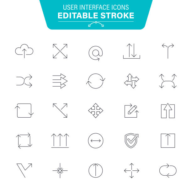 UI and Arrows Line Icons vector art illustration