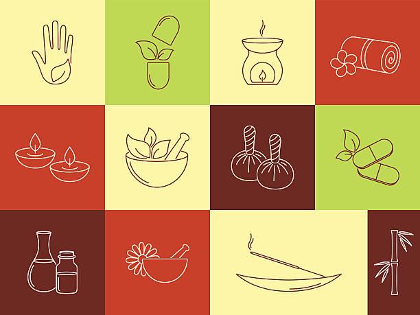 SPA und ayurveda-icons set – Vektorgrafik