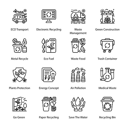 ECO and Bio Technology Outline Icons - Stroked, Vectors