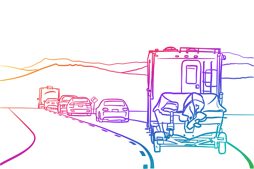 RV And Boat Going Out Of Town Traffic Rainbow
