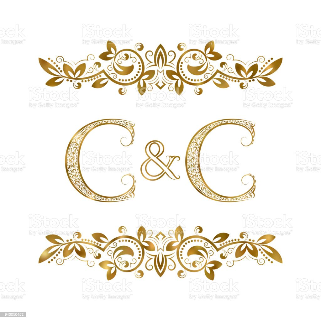 C And C Vintage Initials Symbol Two Letters C Ampersand Surrounded