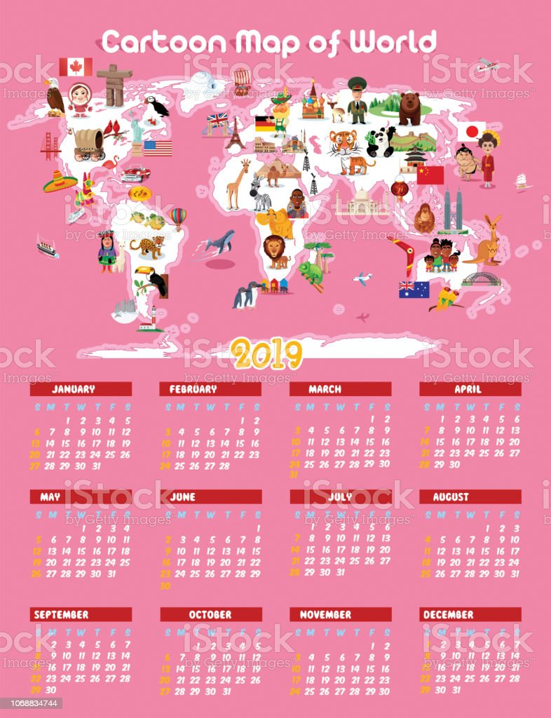 Calendario Rosa 2019.Pink Cartoon Map Of World And Calendar 2019 Stock Illustration Download Image Now