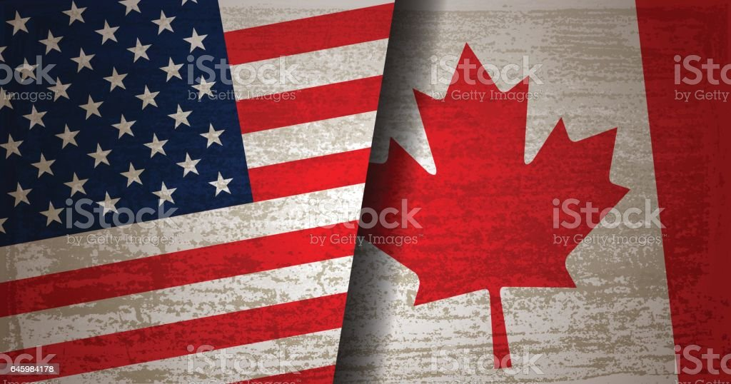 USA and Canada flag with grunge texture background vector art illustration
