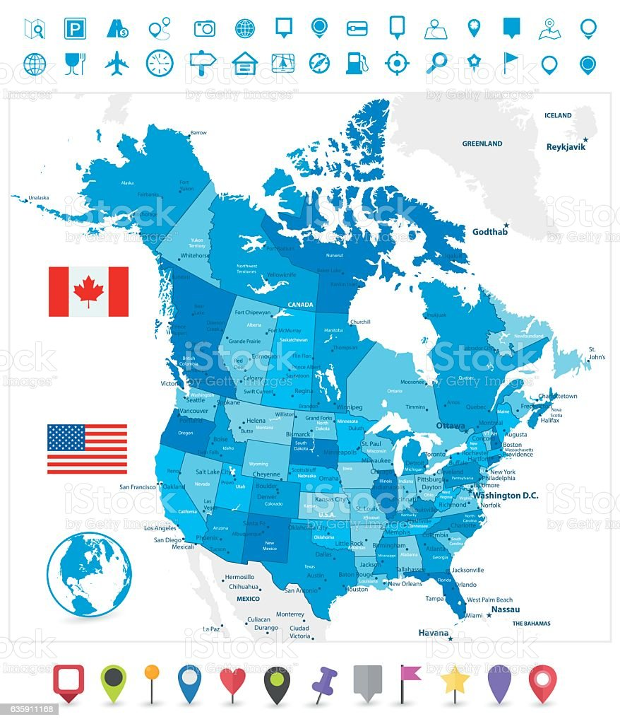 USA and Canada large detailed  blue map