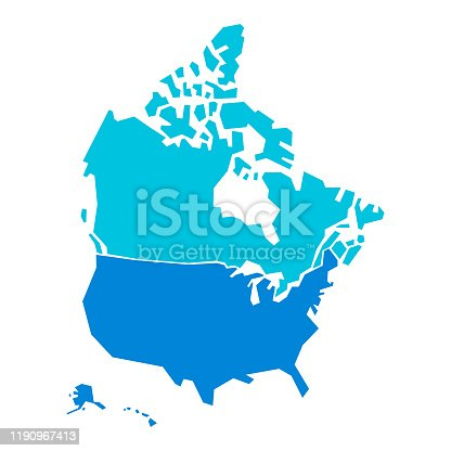 Vector illustration of the map of the United States of America and Canada in sharp geometric shapes. Design element good for business and technology ideas and concepts, social media platforms, communications, transportation and travel and also as a background and topography and cartography projects.