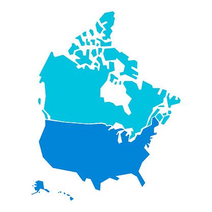 USA and Canada map geometric shapes