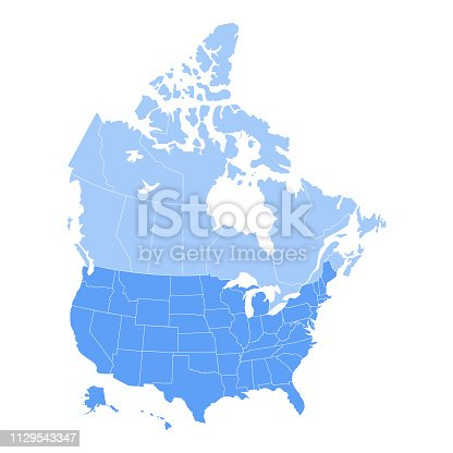 Vector illustration of the map of the United States of America and Canada in blue color and white outline.