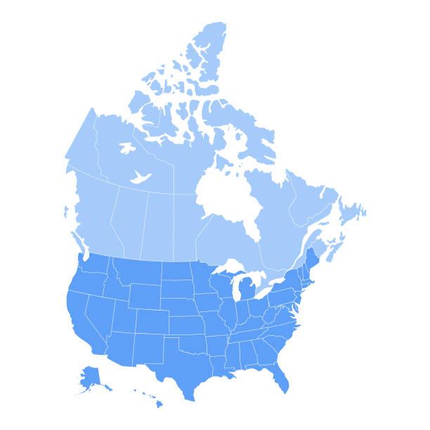 미국 및 캐나다 지도 - 미국 stock illustrations