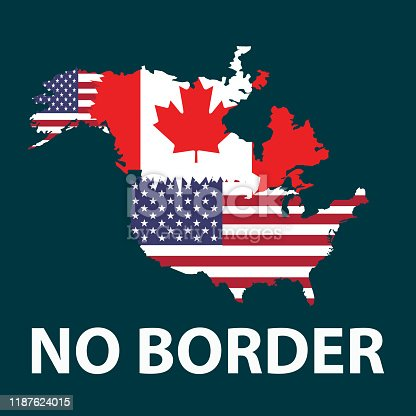 istock USA and Canada no borders, stock - Illustration 1187624015