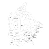 Vector illustration of the outline of the United States of America and Canada map.