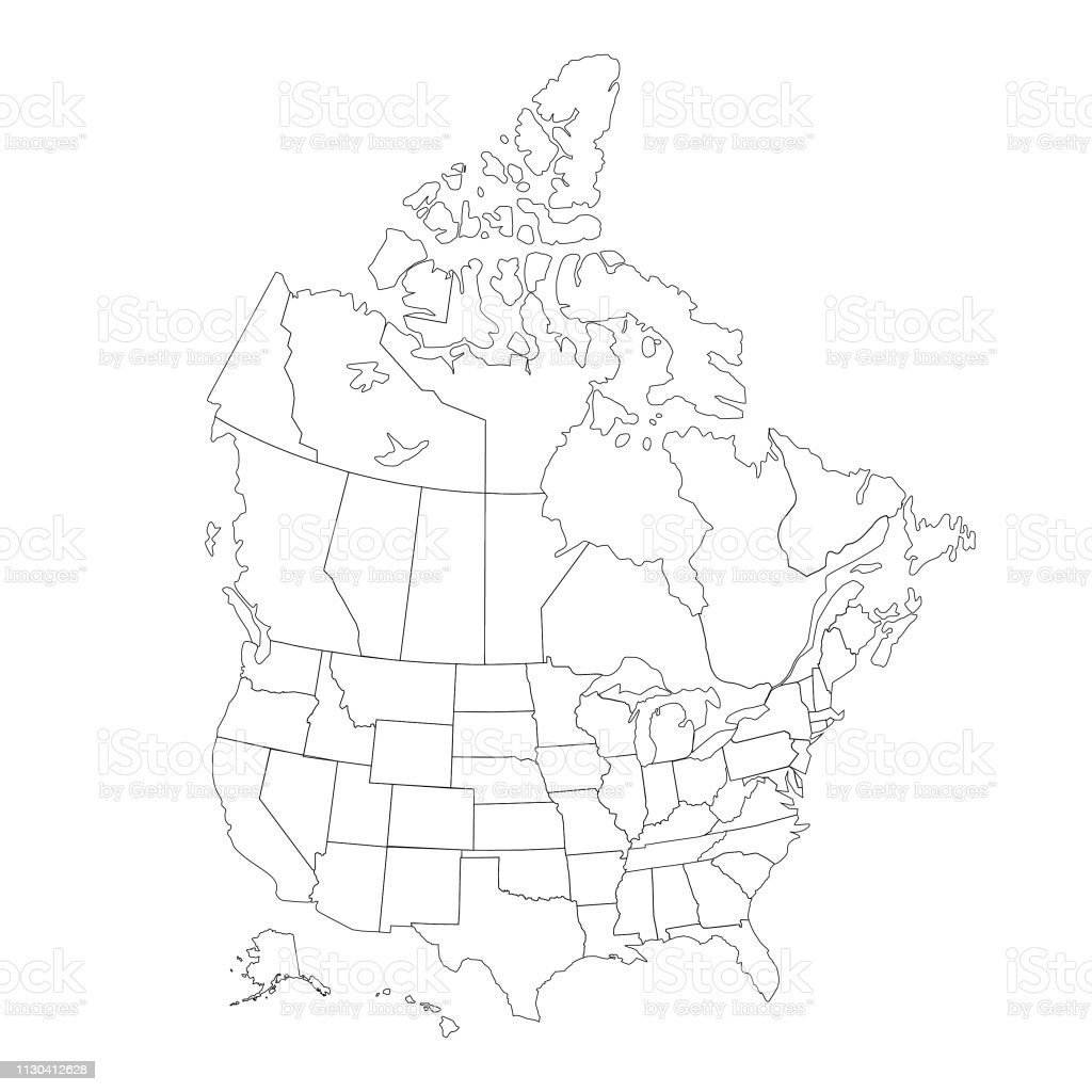 Usa And Canada Outline Map Stock Illustration - Download ...