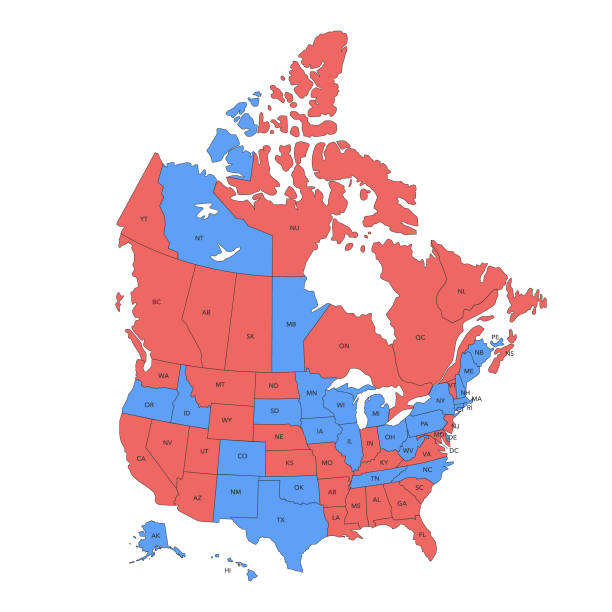 USA and Canadamap Vector illustration of the map of the United States of America and Canada in red and blue colors with a black outline declaration of independence stock illustrations