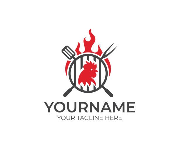 bildbanksillustrationer, clip art samt tecknat material och ikoner med bbq och kyckling, kuk, tupp med eld logotypdesign - ungtupp