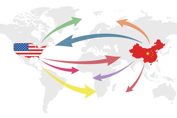 美國和中國商業世界地圖圖表, 向量插圖 - 國際比賽 幅插畫檔、美工圖案、卡通及圖標