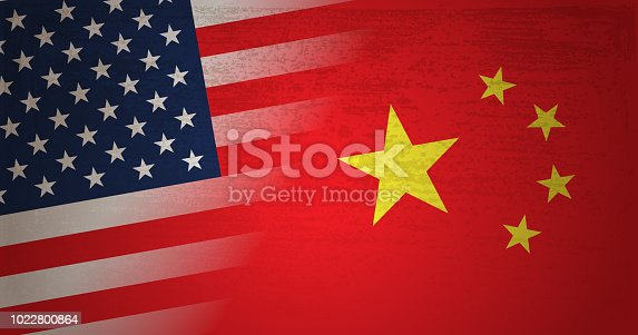 Vector of USA and China flag with grunge texture background. This illustration is an EPS 10 file with contains transparency effects.