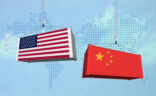 USA and China import export trade war concept. Cargo containers collision as USA and China business finance economic trade tension conflict and  trade deficit symbol. Vector illustration. USA and China import export trade war concept. Cargo containers collision as USA and China business finance economic trade tension conflict and  trade deficit symbol. Vector illustration. trade war stock illustrations